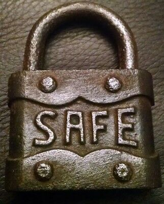 Vintage Old Antique SAFE Padlock  No Key, Nice Embossed Pad Lock