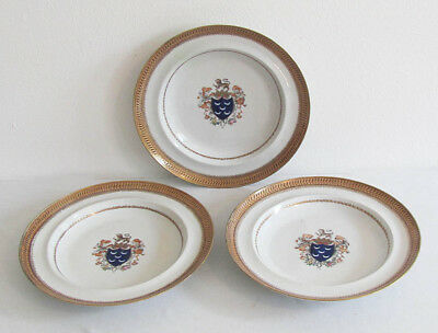 Three 18th Century Chinese Export Armorial Porcelain Plates