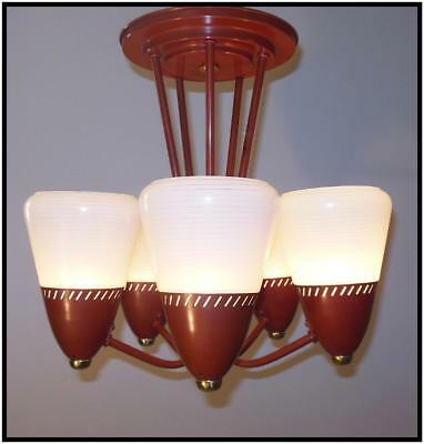 Vintage 1935 Gill Glass Art Deco Mid Century Modern 5 Light Ceiling Fixture Cha