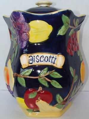 Vintage Ceramic Cookie Biscotti Fruit Jar Canister Hand Painted For Nonni's EUC