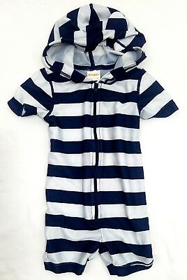 Boy's Gymboree One-Piece Rash Guard Striped Blue Swimsuit Baby/Infant 3-6 Months