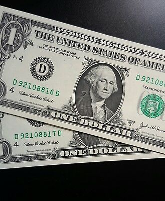 2003 A $1 United States Banknote - Consecutive Pair.. Unc.....