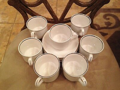 7 Cups & 7 Saucers Salem International Ironstone 1968  Silver Elegance