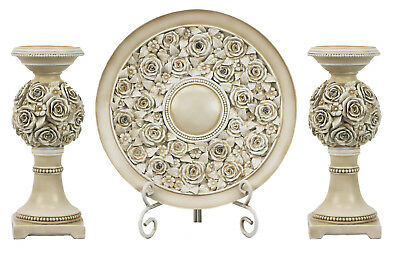 D'Lusso Designs Cassia Collection Four Piece Charger Stand Two Candlestick Set