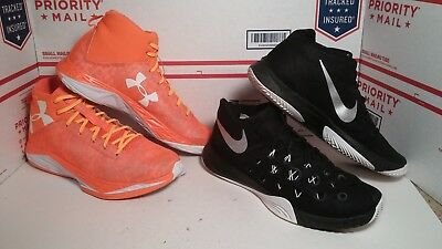 Lot of 2 Pairs Of Nice Basketball Shoes Under Armour + Nike Mens Sz 13 Fast Ship