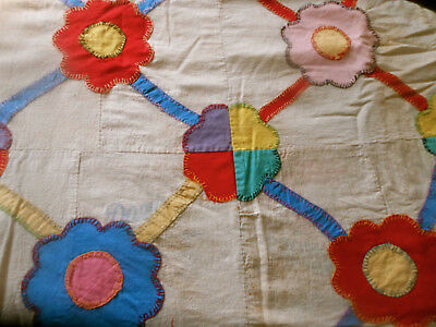 Antique Folksy 30's Floral Sack Applique Quilt Top ~ Red Yellow Blue Pink Green