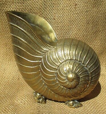 """Vintage Large Solid Brass Footed Nautilus Sea Shell Planter 9"""" Nautical Decor"""
