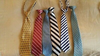Lot Of 5 Boys Youth Kids Child's Dress Clip and zipper  Neck Ties -