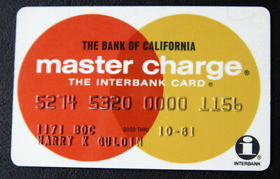 Master Charge from Bank of California N.A. Vintage 1981 Credit Card