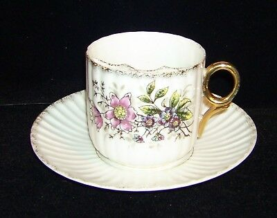 Antique Gold Trimmed Embossed Moustache Cup And Saucer, Floral Pattern