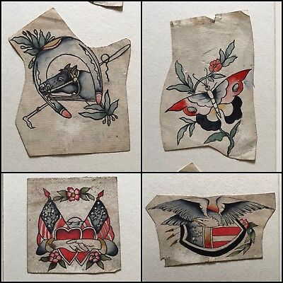 Beautiful Vintage Tattoo Flash Early 1900's Antique Folk Art