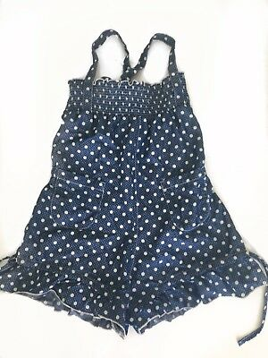 Paper Wings Size 8 Denim Cotton Polka Dot Playsuit
