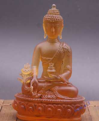 Delicate Chinese Coloured Glaze Hand Carved Buddha Statue 063