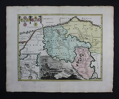1720 - Irak Iraq Iran Turkey Babylon Babel tower Karte map engraving Kupferstich