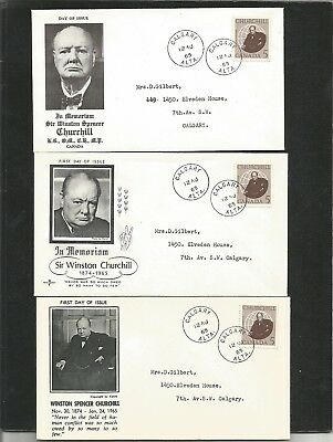 446) Canada 3 Diff 1965 Churchill First Day Covers. Calgary Cancels