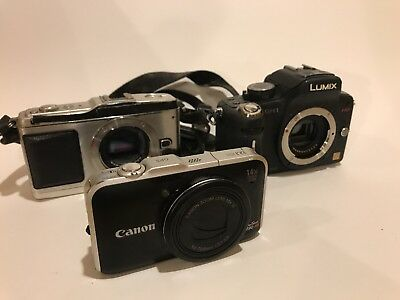 Lot Digital Cameras. Canon, Olympus And Panasonic. Batteries and chargers