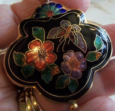 LARGE CLOISONNE BLACK FLOWER BUTTERFLY  PENDANT NECKLACE  Chinese export Vintage