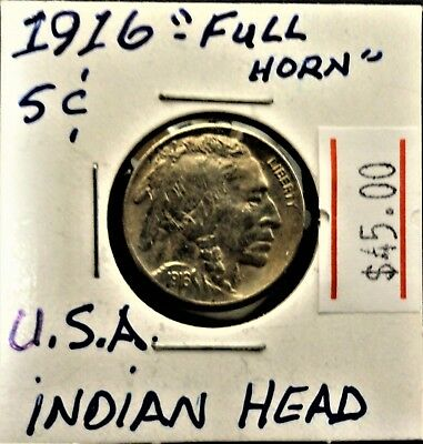 1916 USA Indian head Buffalo nickel , full horn and split tail , nice coin
