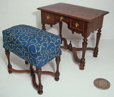 Dollhouse Miniature William & Mary Dressing Table & Bench 1:12 Lowboy DOVETAILED