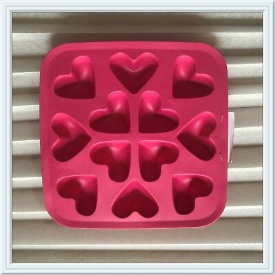 IKEA Silicone Flexible Rubber Heart Shape Ice Cube Tray Pink ❤️ Love NEW