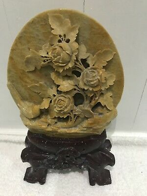 Stunning Oriental Soapstone Plaque On Soapstone Stand With Tree & Bird Carving