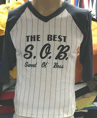 "TRUE VTG 1970's WOMEN'S ""THE BEST S.O.B. SWEET OL' BOSS"" BASEBALL T-SHIRT LG-MED"