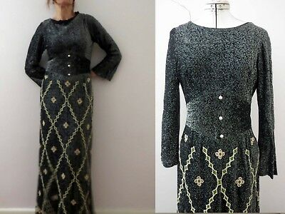 70s Black Silver Lurex Maxi Beaded Evening Dress Sm Free Postage for 3+items