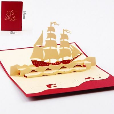 3D Pop Up Greeting Cards Ship Birthday Children Father's Day Good Luck Postcards