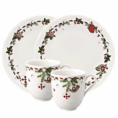 """Hutschenreuther 02460-725492-29213 Set 4 Pezzi """"christmas Delicacy"""" In Porcellan"""