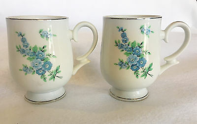 Royalton China Co Fine China Porcelain Cups White Blue Flowers Set of 2 Cups