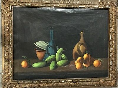 "Antique 1800's Still Life Fruit Oil Painting on Canvas UnSigned. 38""X30"".Amazing"