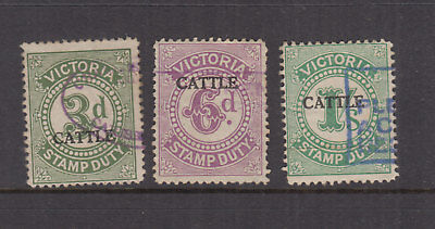 VICTORIA 1927 3d, 6d, 1/- CATTLE DUTY Revenue-open C- Elsmore Cat $15+ FU (3)