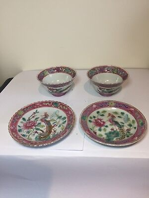 Pair Of Nonya Peranakan Straits Chinese Famille Rose Tea Bowl And Saucer 2