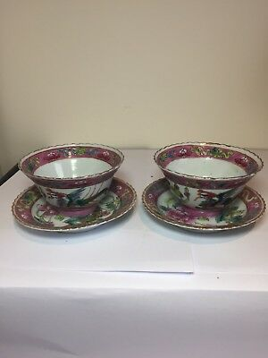 Pair Of Nonya Peranakan Straits Chinese Famille Rose Tea Bowl And Saucer 3