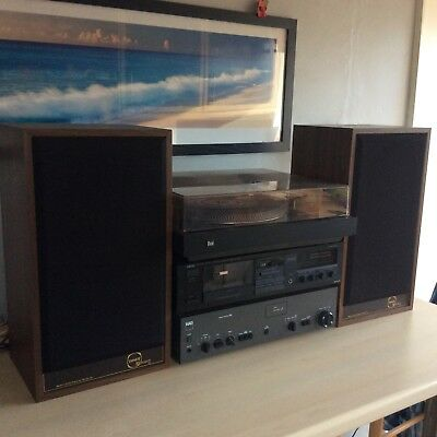 HiFi equipment, includes Nad amp, Dual deck,Yamaha cassette, & Tannoy speakers.
