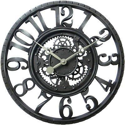 """Gears 22"""" Large Oversized Wall Round Wall Clock, Large Numbers, Quartz - NEW"""