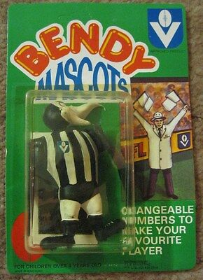Vintage VFL Collingwood Magpies Collectable Bendy Mascot Toy New In Packet AFL