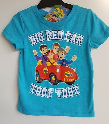 BNWT Size 2 The Wiggles Big Red Car Toot Boys Girls Blue Tshirt Top Gift