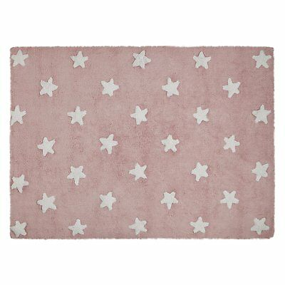 Lorena Canals C-R-Sw Pink Stars White Washable Rug Rosa