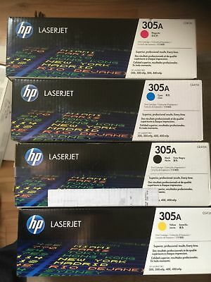 Genuine New HP 305A, CE410X CE411A CE412A CE413A BLACK, CYAN, MAGENTA & YELLOW