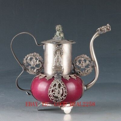 Tibet Silver inlay Jade Hand Carved dragon & Kwan-yin Teapots &Unicorn Lid ZJ249