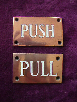 Antique bronze and enamel incised pull push door signs