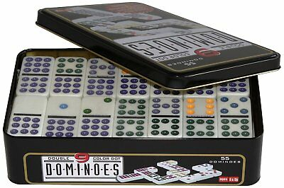 Double 9 Dominos in tin case coloured spot dominos