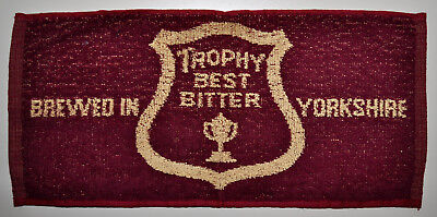 Vintage TROPHY BEST BITTER Beer Brewed in Yorkshire England Bar Pub Towel RARE
