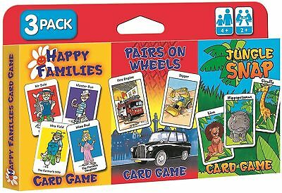 Children's Card Games - Tripack - Jungle Snap/Happy Families/Pairs on Wheels