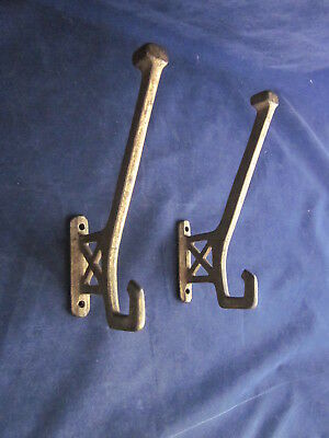 "CAST METAL IRON Coat Hooks 6"" tall LARGE Set of 2 VINTAGE ANTIQUE"