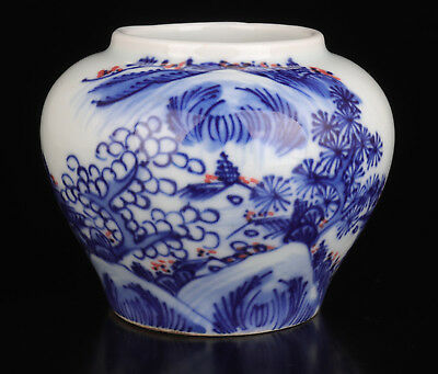 Blue And White Porcelain Hand Painting Master Art Pot Chinese Style Vintage