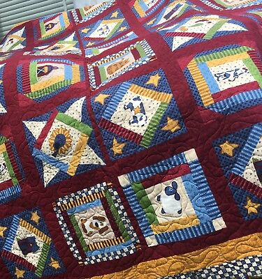 Magnificent Handmade Quilt Country Farm Quilted Bed Top Blanket Cows Chickens