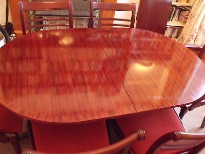 Meredew dining table, claw feet and 6 chairs, Stag sideboard, mahogany, reduced