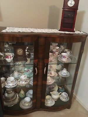Antique Walnut & Walnut Veneer Crystal/china Display Cabinet Approx 90 Yrs Old